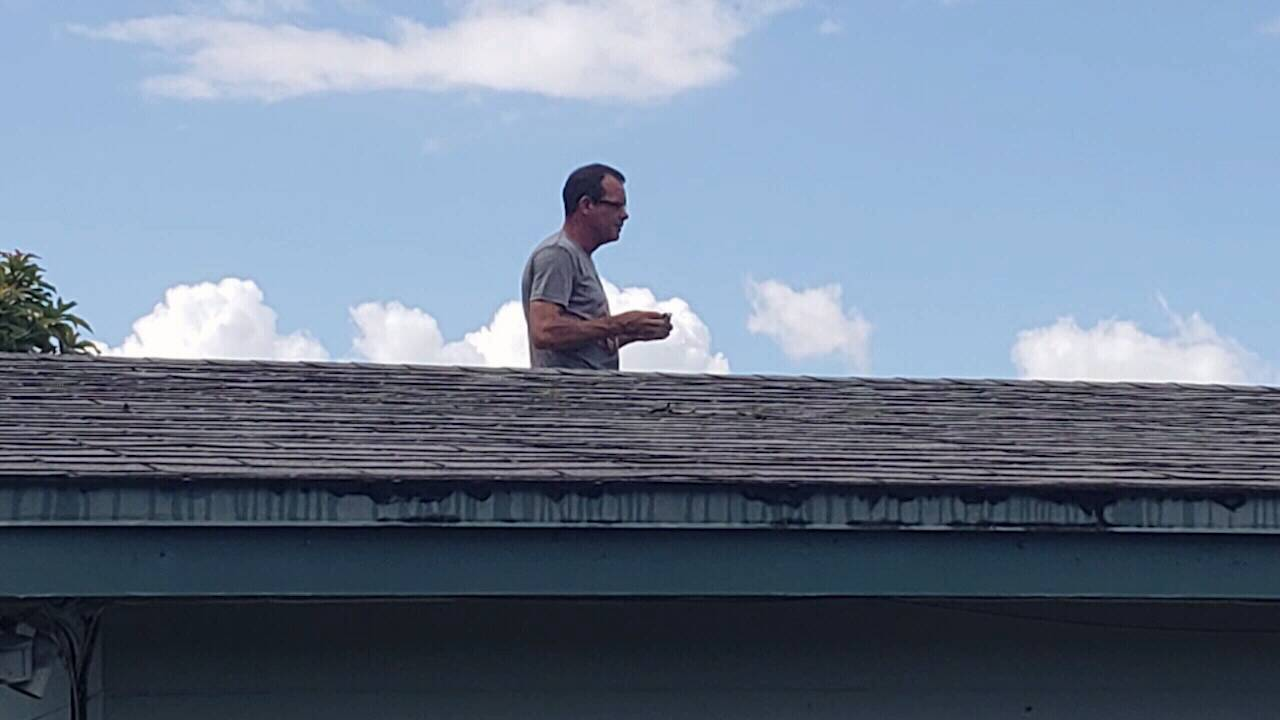 Harrison up on roof