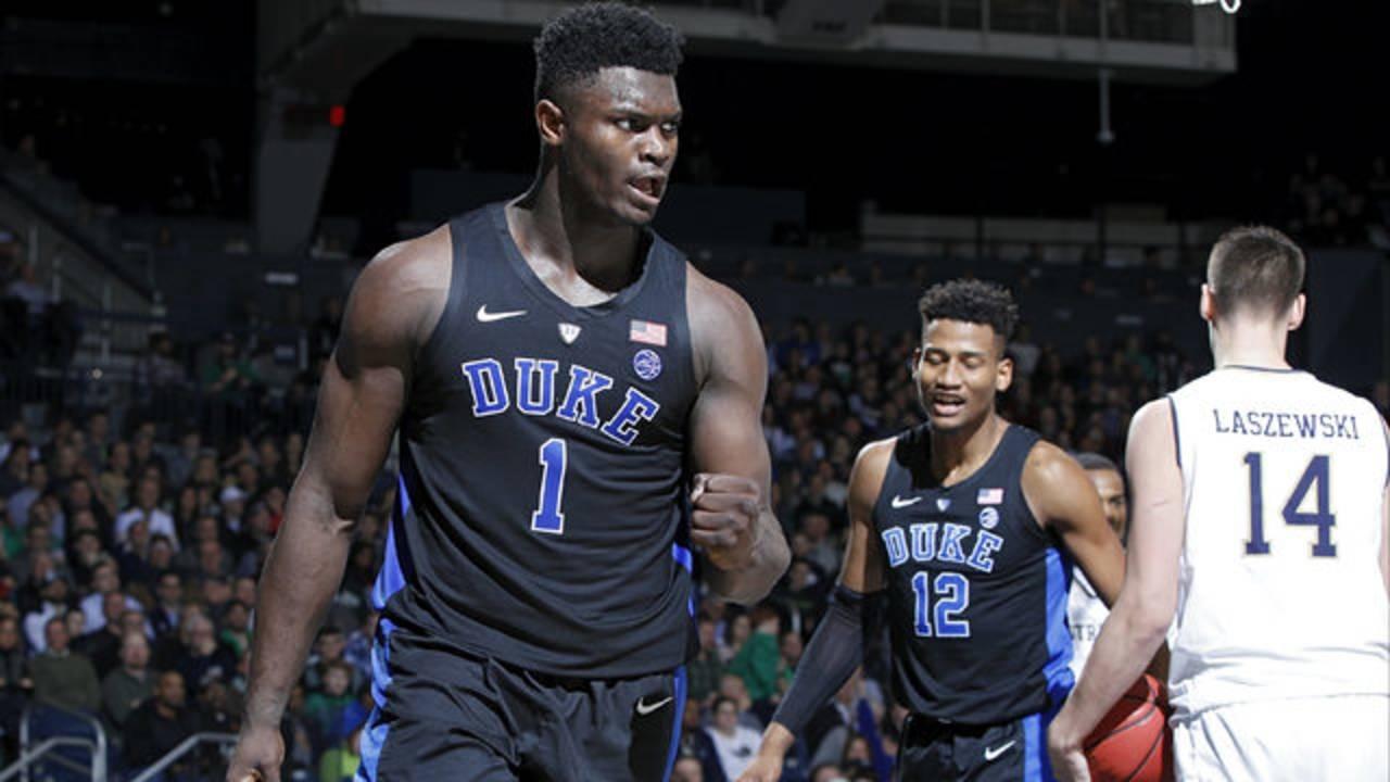 Zion Williamson Duke basketball vs Notre Dame 2019