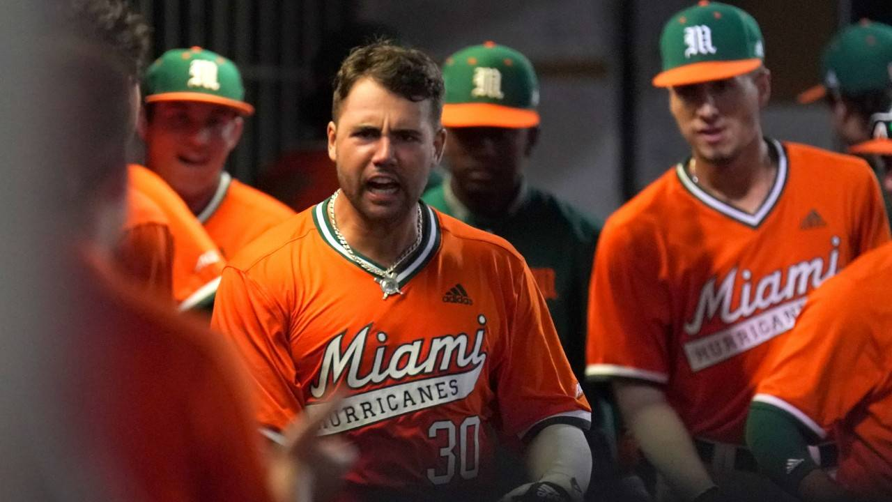 Miami Hurricanes first baseman Alex Toral celebrates after grand slam vs Florida State Seminoles, April 5, 2019