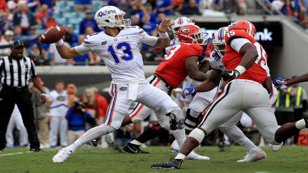 Florida Gators QB Feleipe Franks vs Georgia Bulldogs in 2018