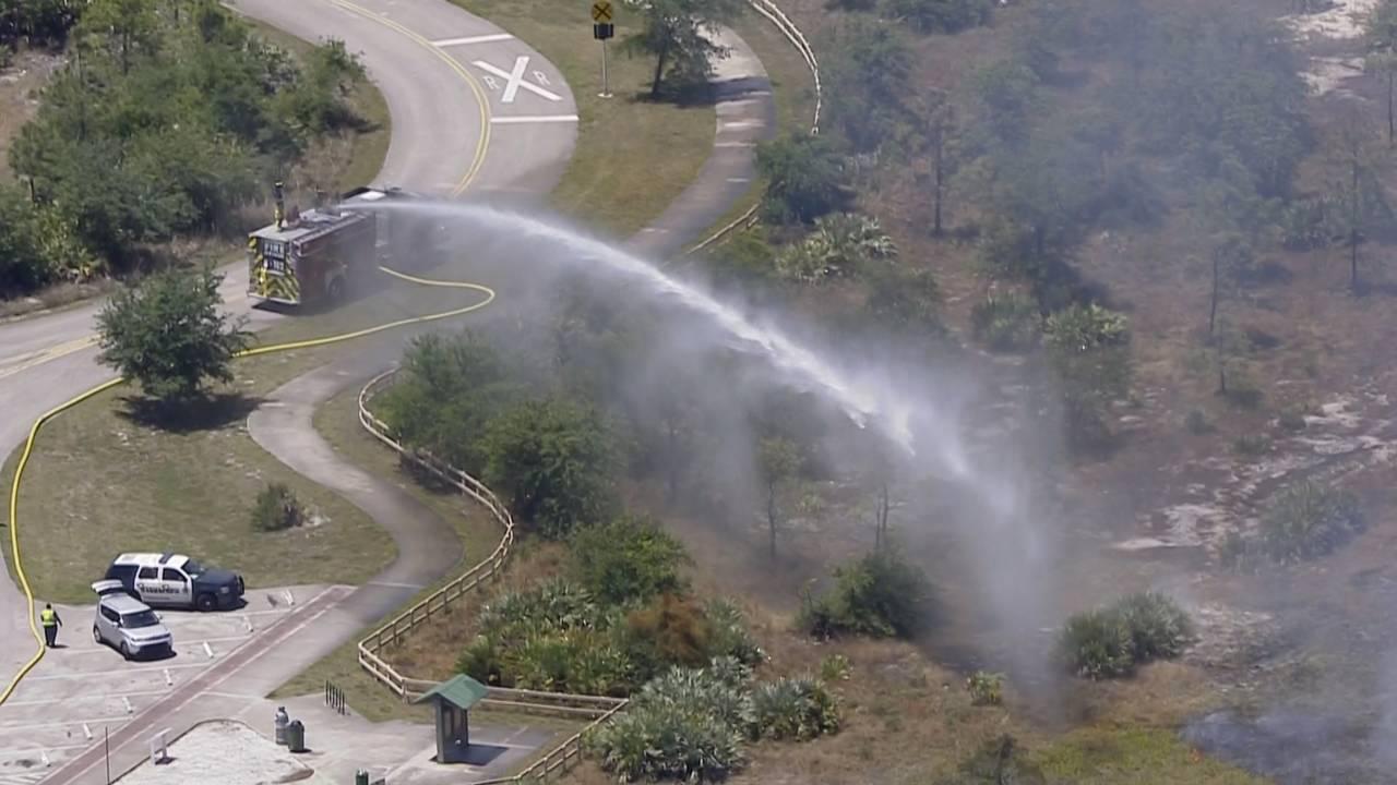 Sky 10 Deerfield Beach brush fire firefighters douse flames