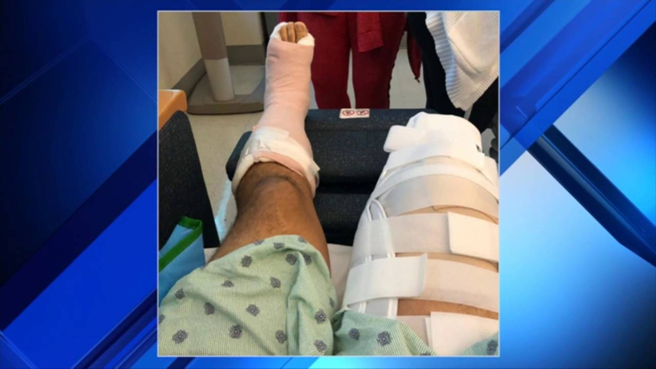 Carlos Andres Gonzalez in hospital after leg amputated