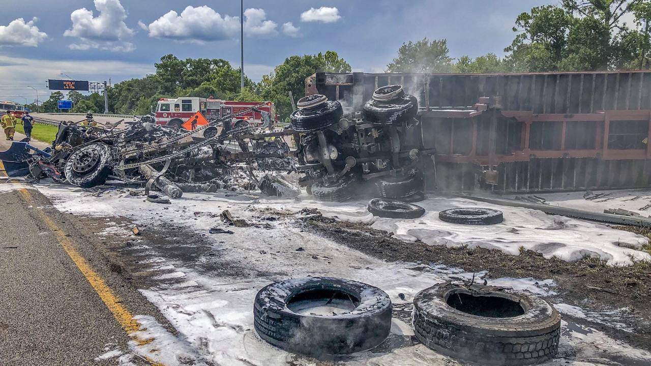 JFRD pick of big rig fire on I-295 at Roosevelt