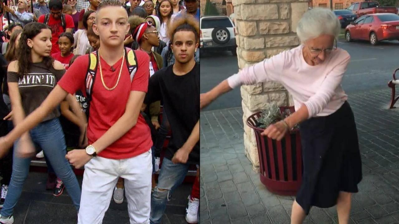 Elderly Woman Does the Backpack Kid Floss Dance ffb9335aeeb31