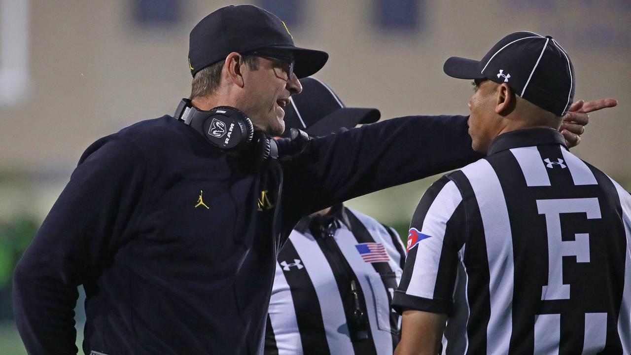 Jim Harbaugh and referees Michigan football vs Northwestern 2018