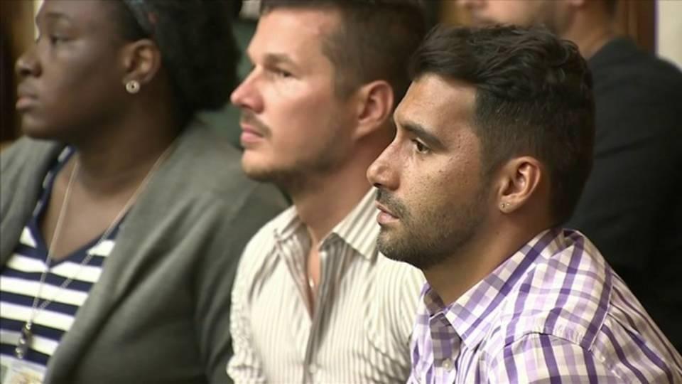 Dimitri Lugonov and Rene Chalarca in court May 10