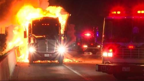Tractor-trailer fire blocks several lanes of 610 North Loop