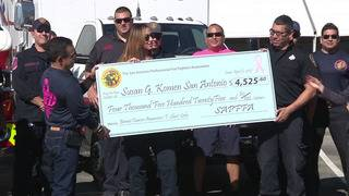 Firefighters association presents $4,500 check to Komen San Antonio
