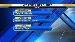 Hot with scattered showers, storms