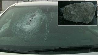 Chunk of concrete crashes through man's windshield after falling from&hellip&#x3b;