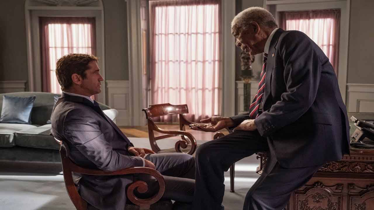 Gerard Butler and Morgan Freeman in 'Angel Has Fallen'
