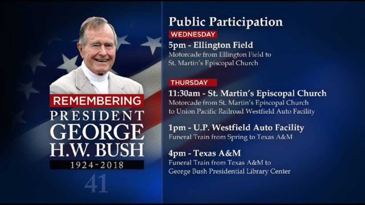 George H.W. Bush funeral schedule graphic