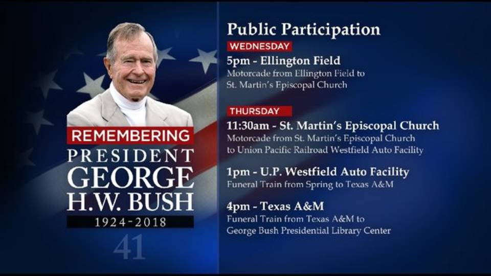 George H.W. Bush funeral schedule graphic