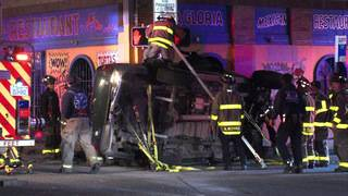 Driver killed in 2 vehicle rollover crash that slams into nearby restaurant