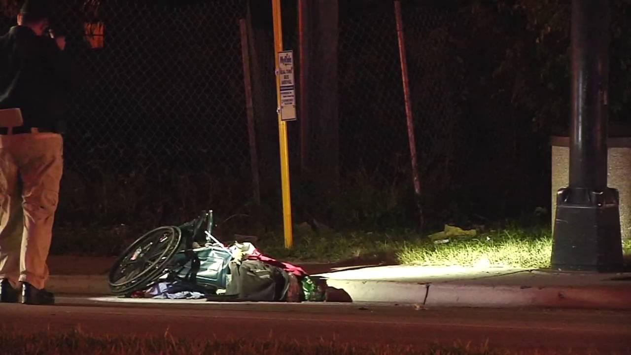 Mangled wheelchair on side of Sunrise Boulevard