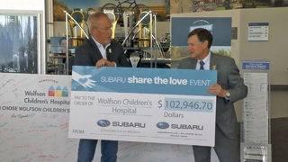 Subaru shares nearly $103K of love with Wolfson Children's Hospital