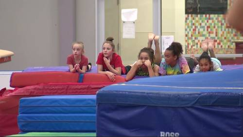 Local aspiring gymnasts celebrate Simone Biles' historic record