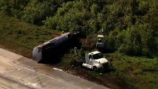 7,200 gallons of fuel spill when tanker overturns on I-95 in Brevard