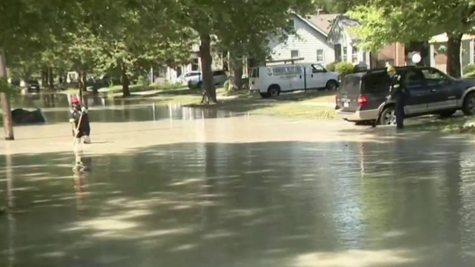Water main break flooded street Detroit's east side
