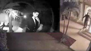 Man dressed in dinner jacket sets fire to door of Hollywood home