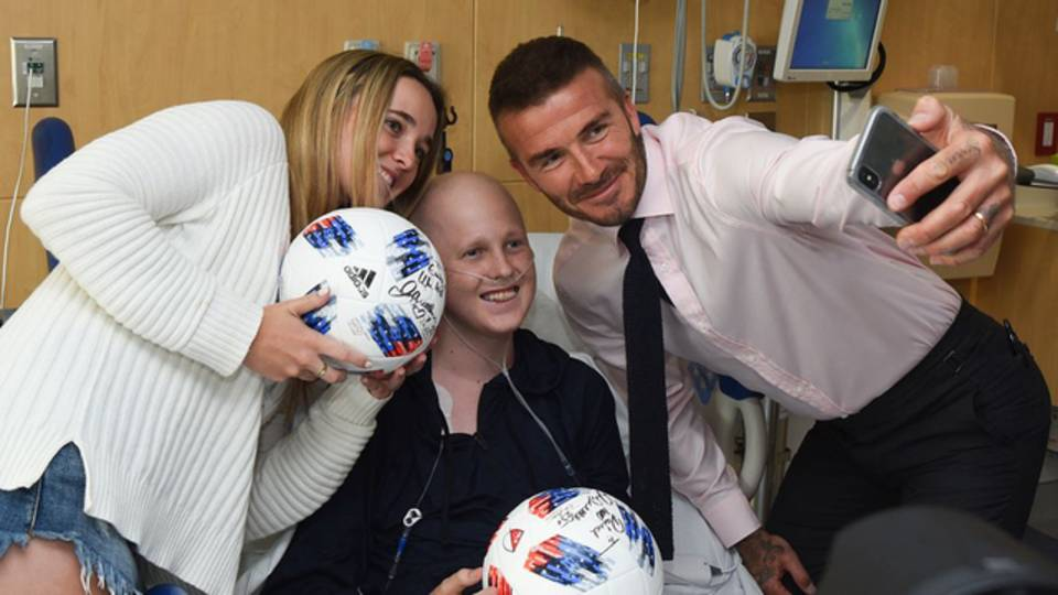 David Beckham takes selfies with sick kid at Nicklaus Children's Hospital