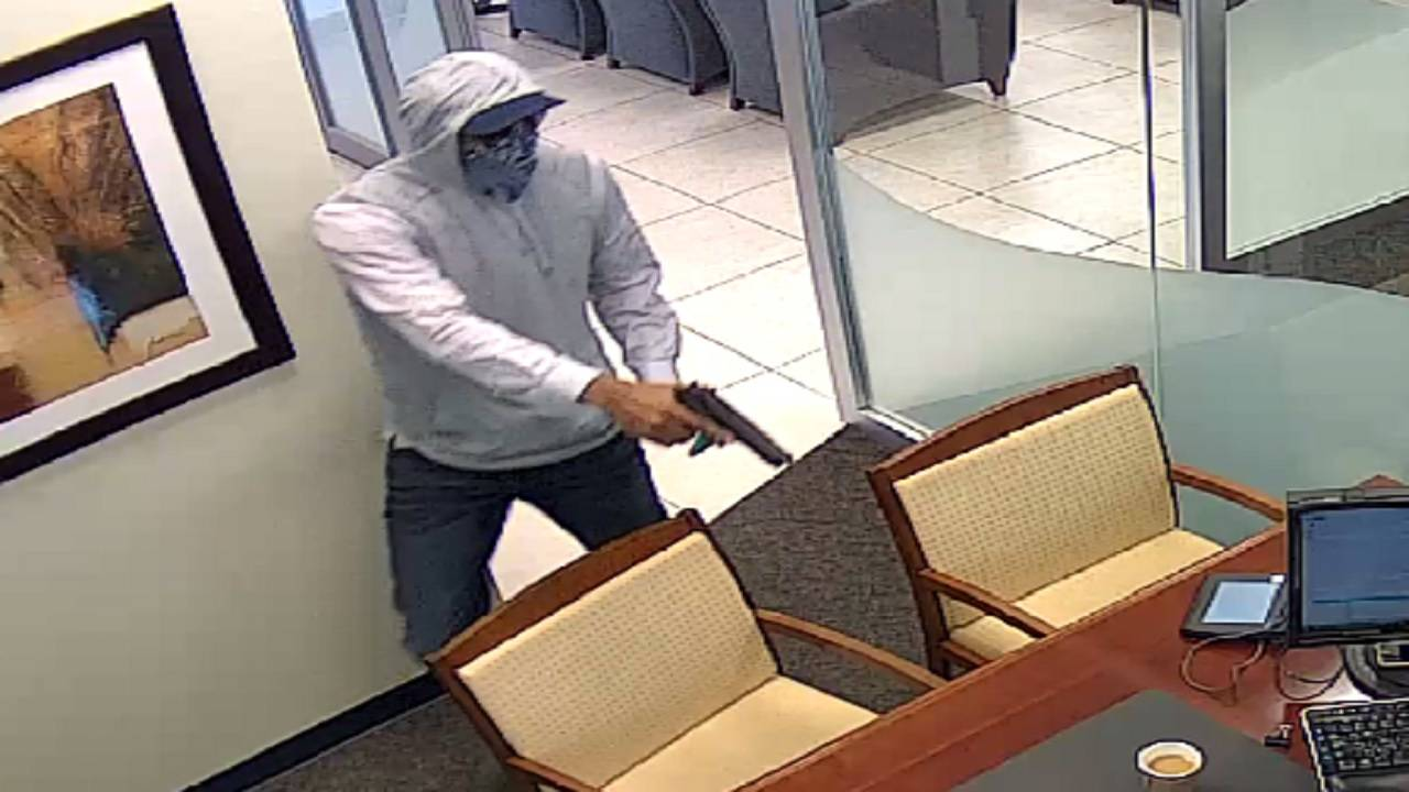 Tropical Financial bank robber pointing gun