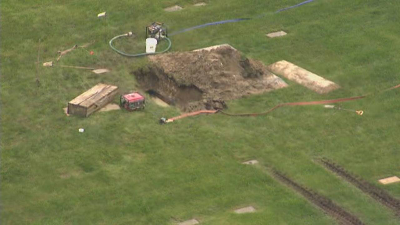 Canton Township cemetery dig aerials 6