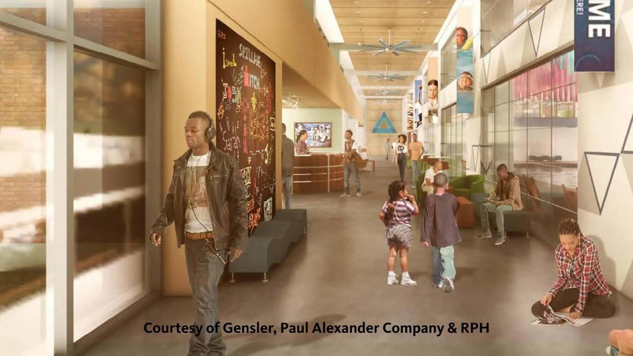 Blue Triangle rendering corridor