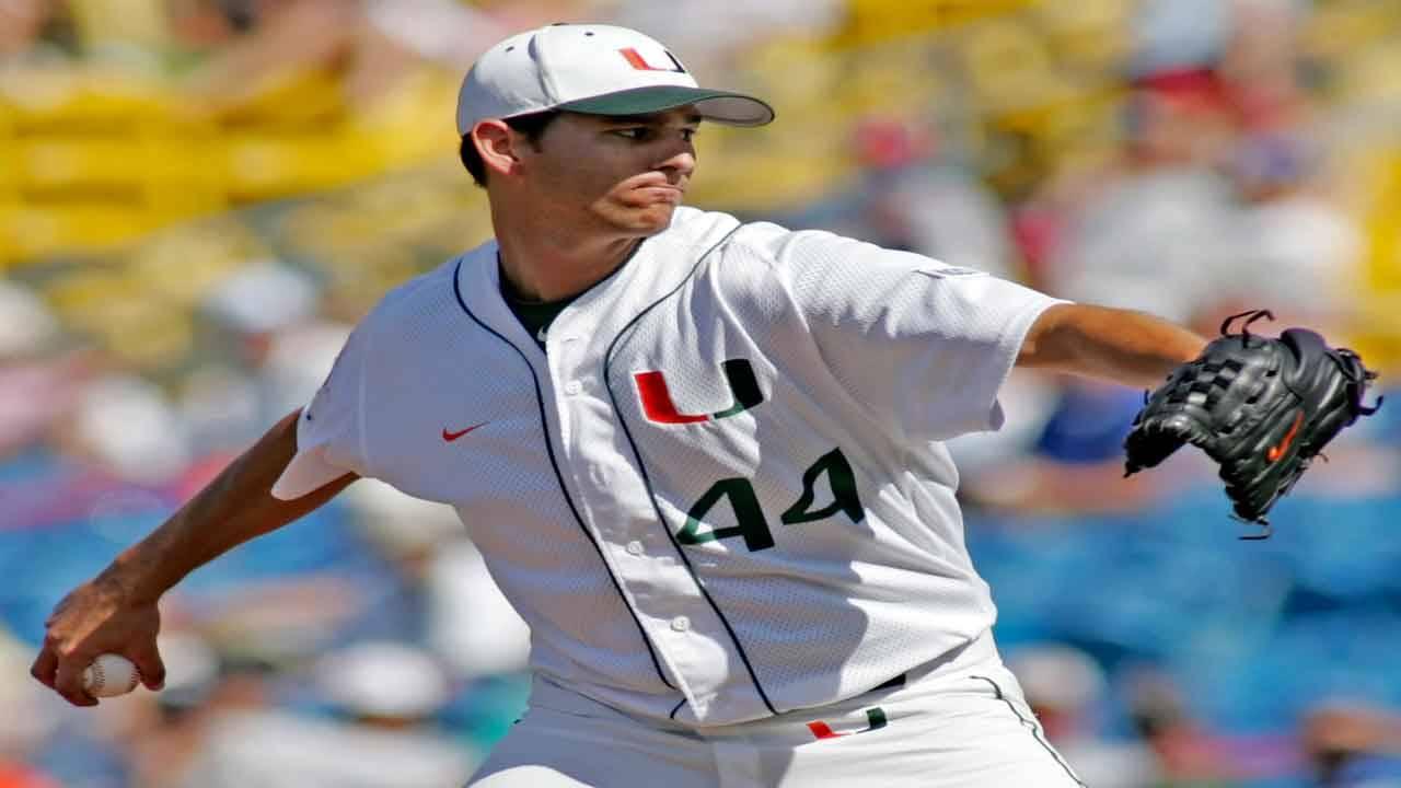 Miami Hurricanes closer Carlos Gutierrez pitches vs Florida State Seminoles in 2008 College World Series