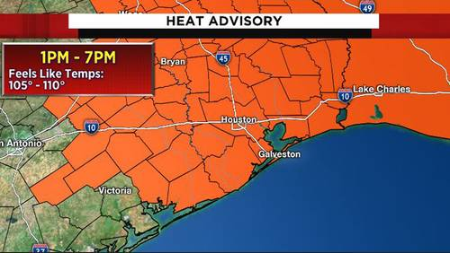 Heat advisory this afternoon as feels-like temps reach up to 110 degrees