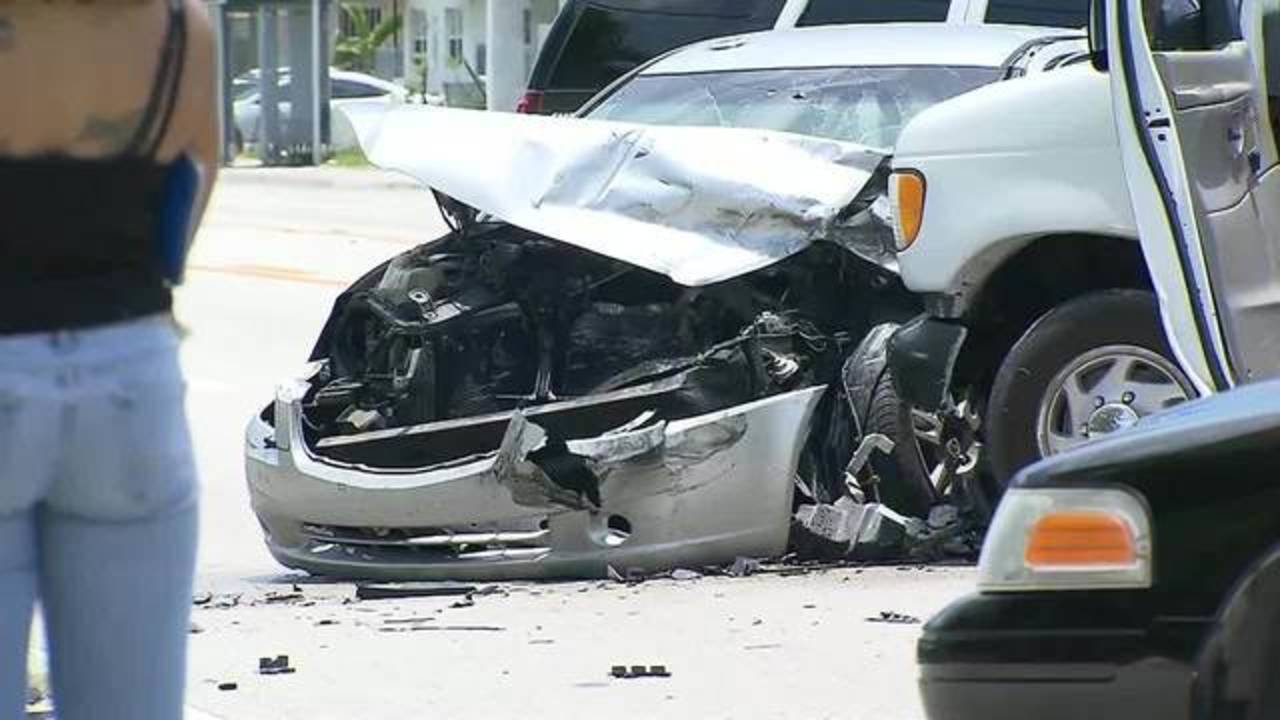 Van crashes into Nissan in Opa-locka after chase