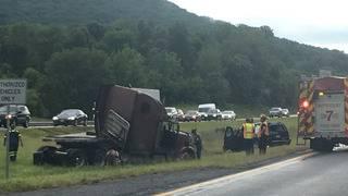 2 tractor-trailer wrecks cause major backups on I-81