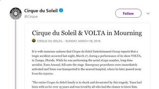 Cirque du Soleil performer dies after fall in Florida