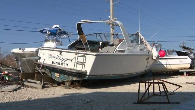 Nick Harding's boat moved after Hurricane Irma