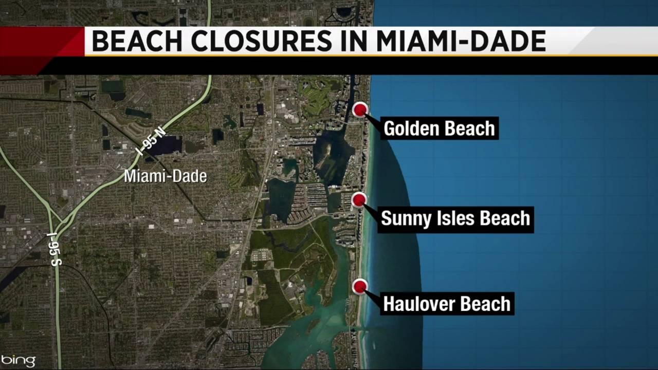 Beach Closures In Miami-Dade Map