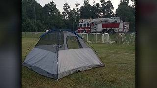 HFD firefighters pitch tent, wait for tow after truck breaks down in Kingwood