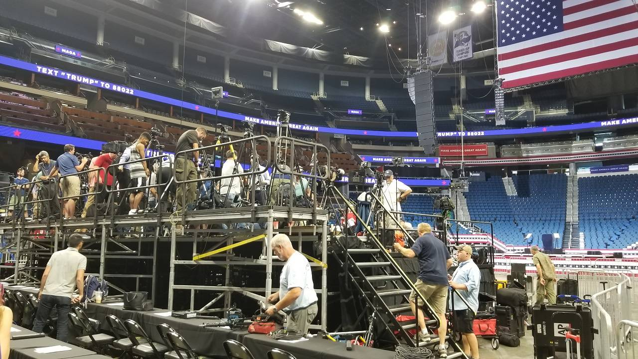 Media preps at Amway for Trump rally in Orlando