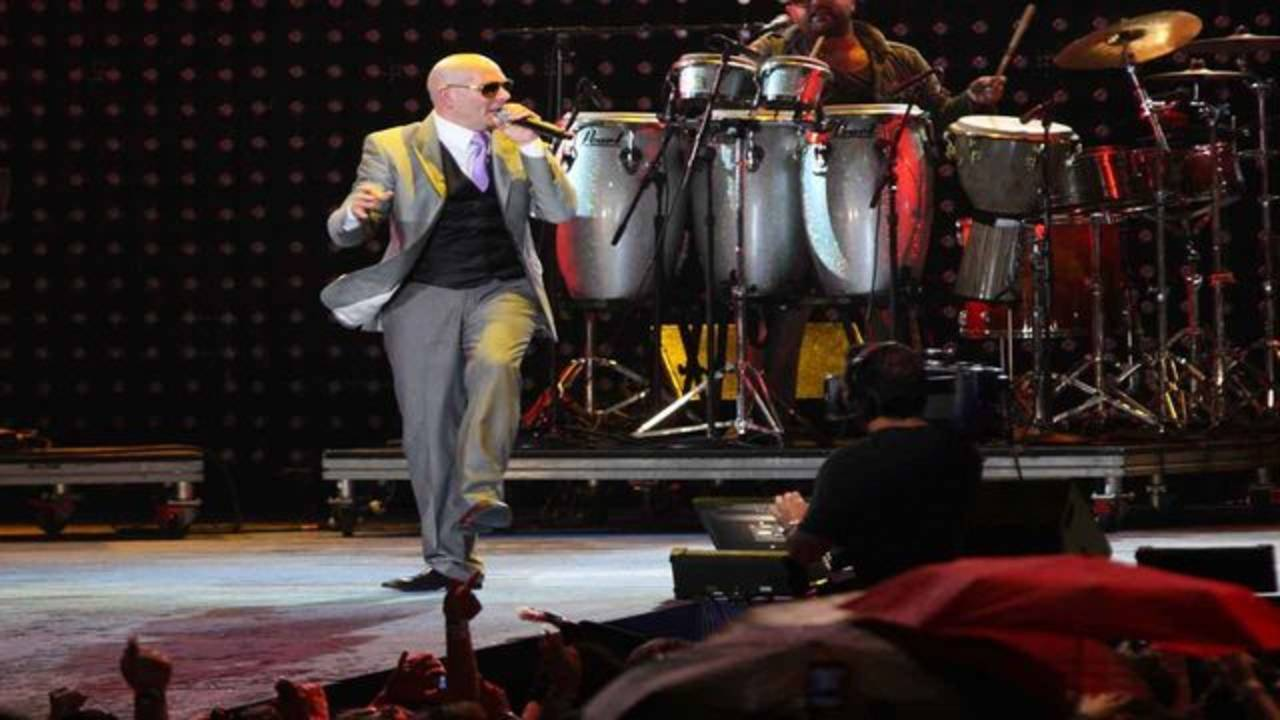 Pitbull performs at Super Bowl XLIV fan jam in 2010