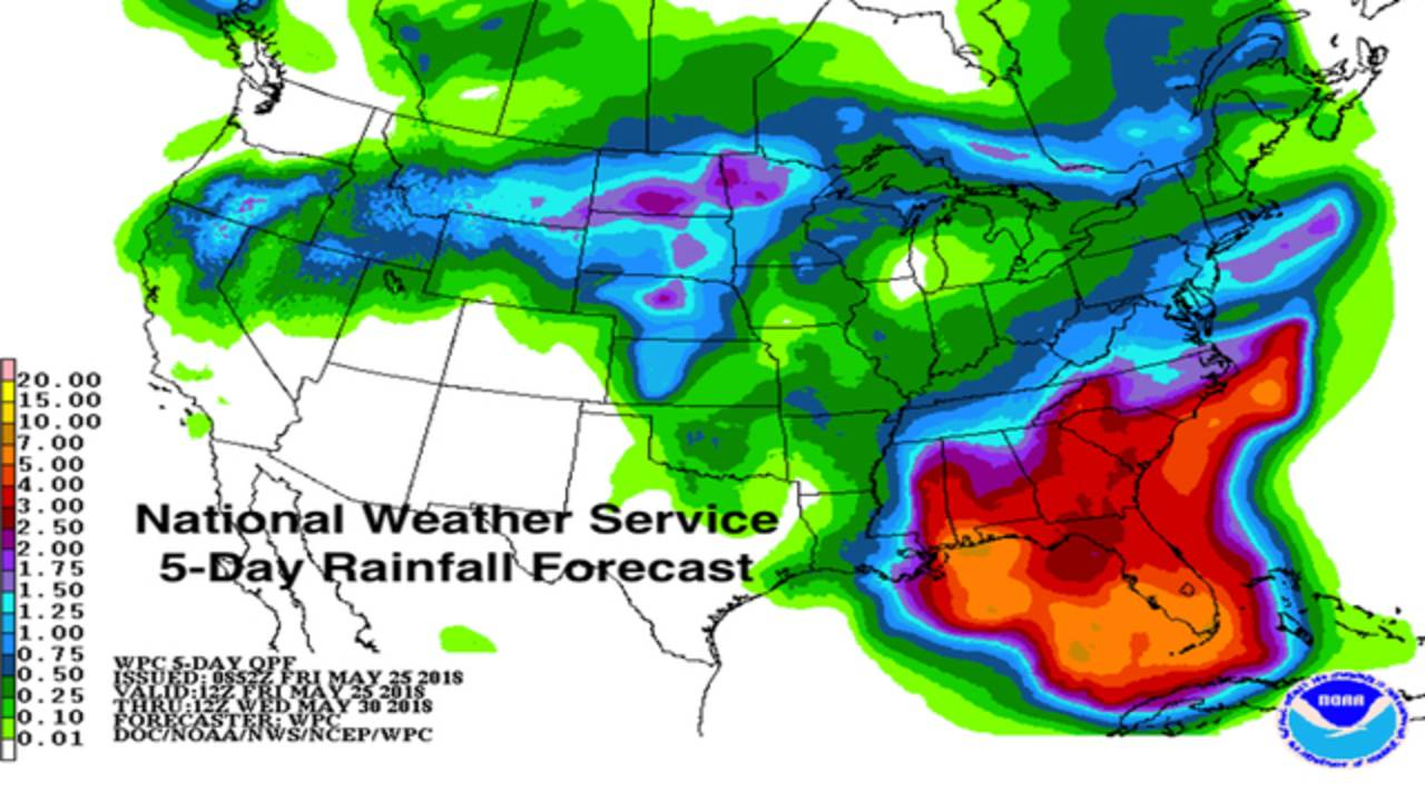 Florida Rainfall Map.Subtropical Storm Alberto Forms Here S What It Means For