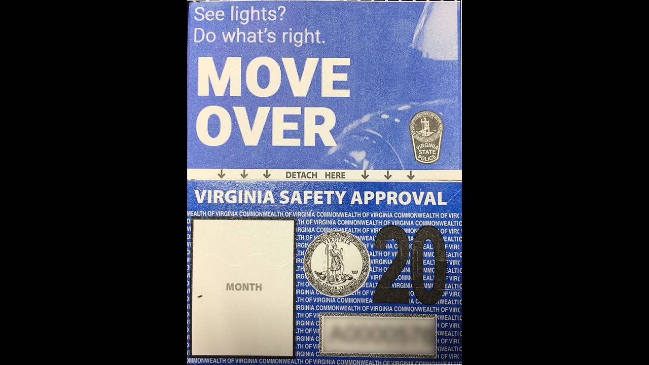 Virginia shrinks vehicle inspection sticker size by nearly 50%