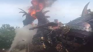 Video: Dragon float in Disney's Festival of Fantasy Parade catches fire