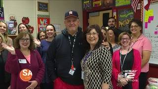 1st-grade Teacher gets surprised with a free lunch by SA Live's David Elder