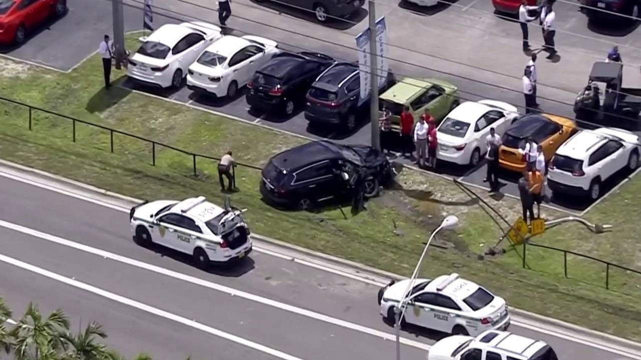 Crashed SUV outside Home Depot in northwest Miami-Dade