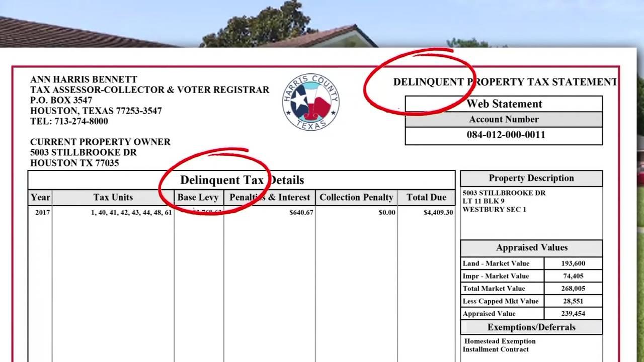 Joseph Pappas delinquent property tax statement
