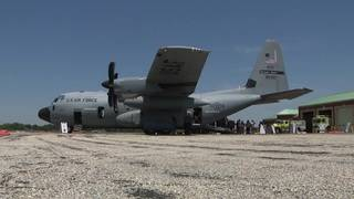 Hurricane hunter aircraft on display in Beaumont