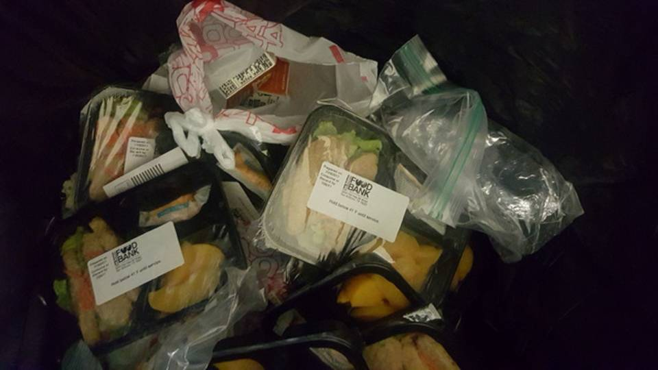 food bank food in trash 3