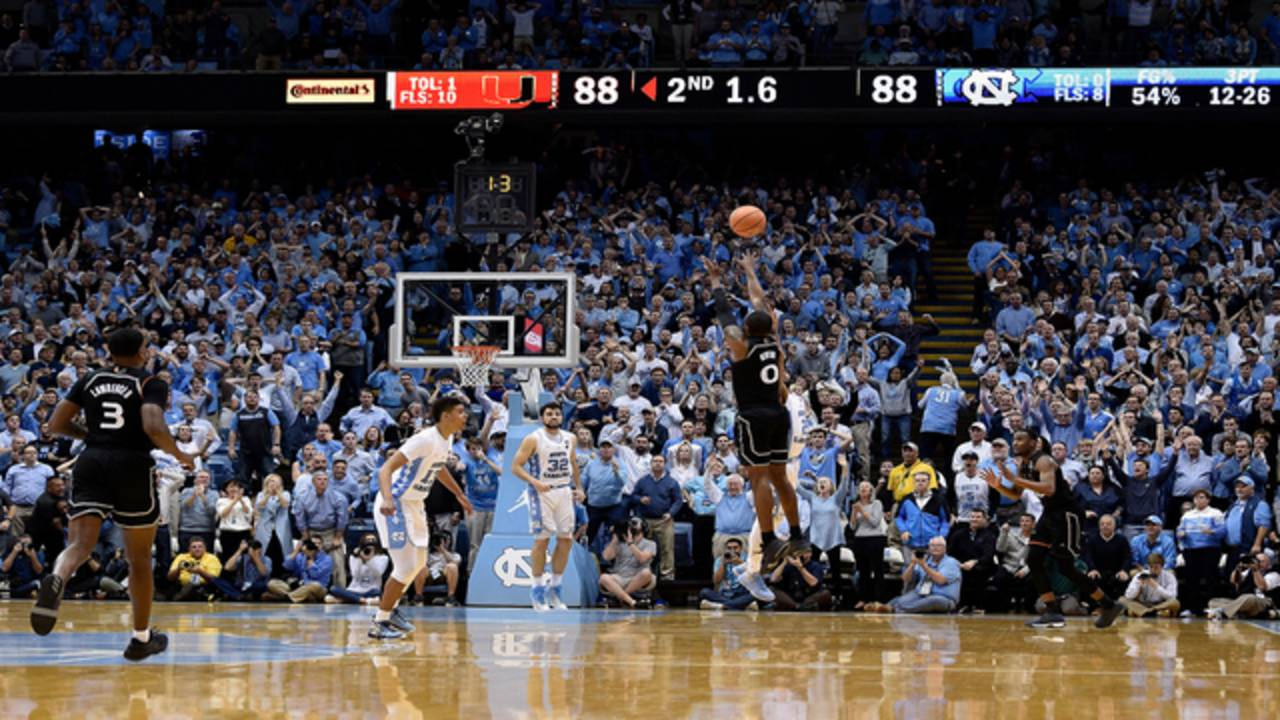 Miami Hurricanes JaQuan Newton game-winning shot at North Carolina Tar Heels