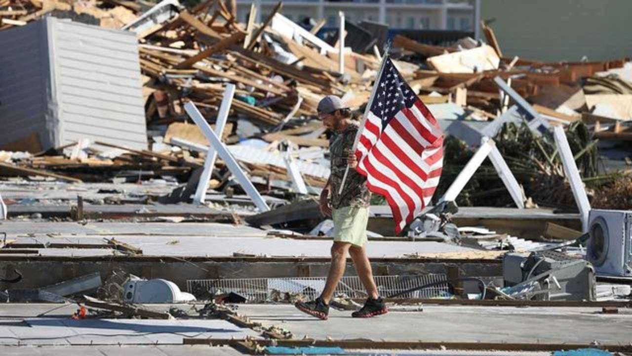 Hurricane Michael Mexico Beach US flag
