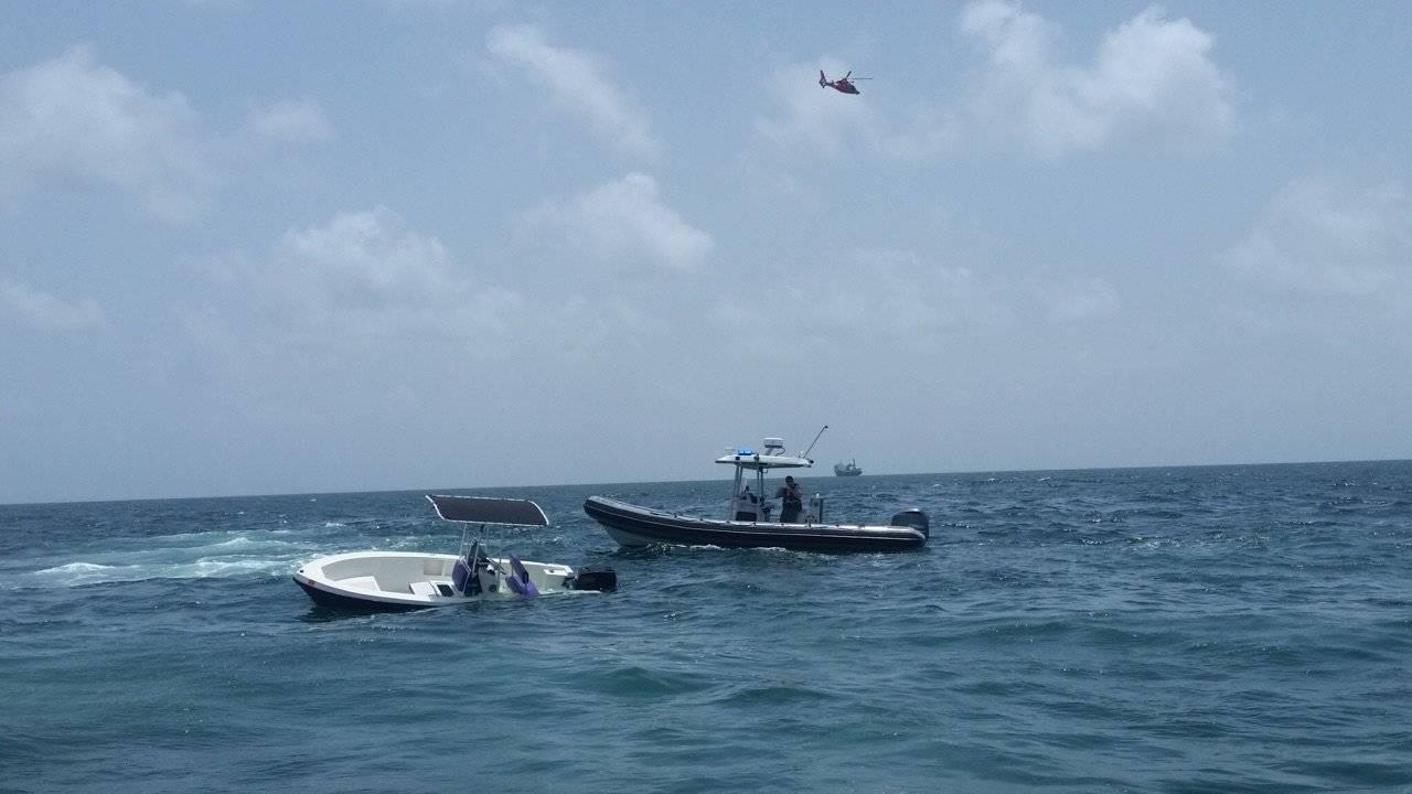 Capsized boat off Miami Beach
