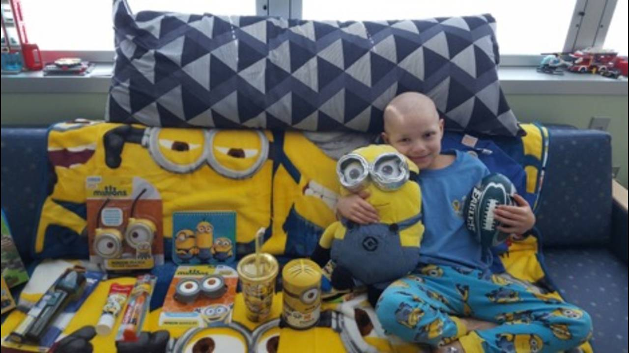 A hospital room decorated with Minions decor.